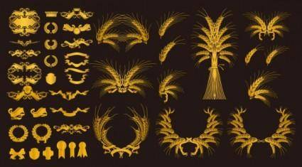 free vector European gold decorative elements vector