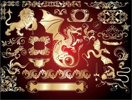 free vector European gold design elements vector 3 trend