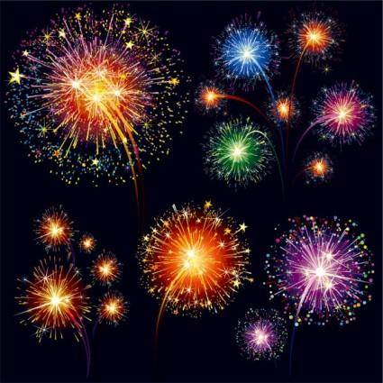 Colorful fireworks 01 vector