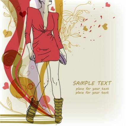 Beautiful handpainted fashion illustrator 05 vector