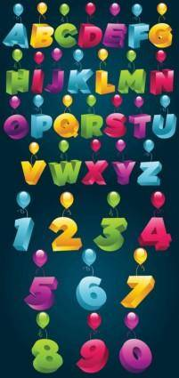 free vector 3d threedimensional alphanumeric vector