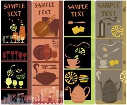 Handpainted tableware illustration vector