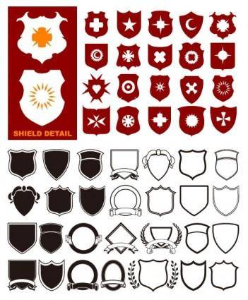 free vector A variety of shield shapes vector