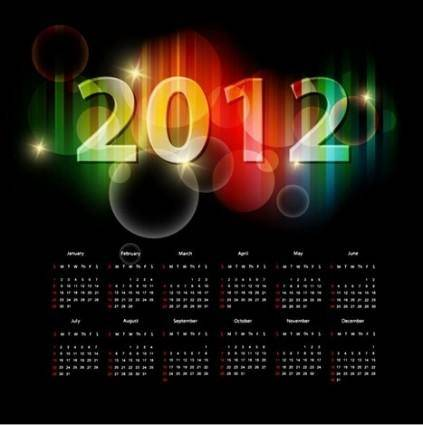 2012 Calendar Vector