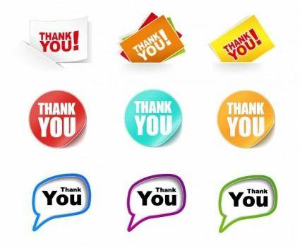 free vector Thank You Stickers Vector Collection