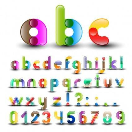 free vector Colorful Alphabet with Numbers