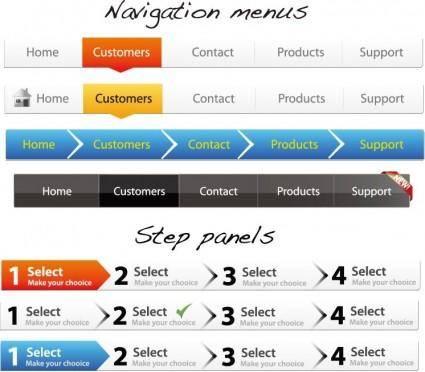 free vector Navigation Menus and Step Panels