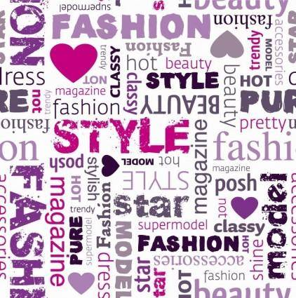 free vector Fashion Word Collage Vector Illustration