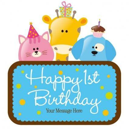 free vector Vector Child Birthday Card