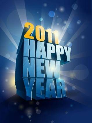 free vector Happy New Year 2011 3D Vector