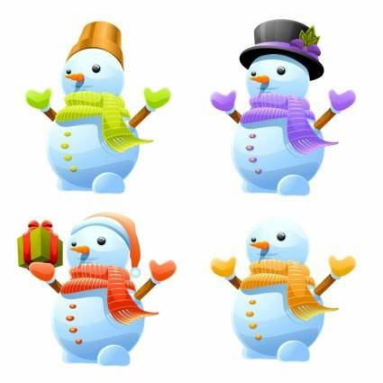 free vector 3D Cute Snowman Vector Set