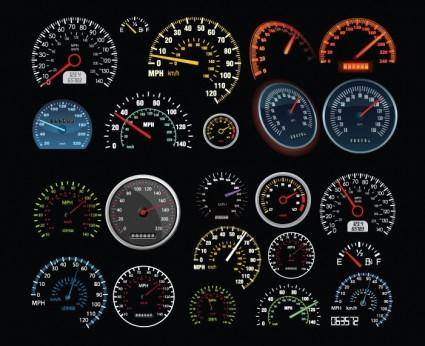 free vector Set of Vector Speedometer and Counter