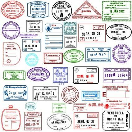 free vector Countries in the visa stamp vector