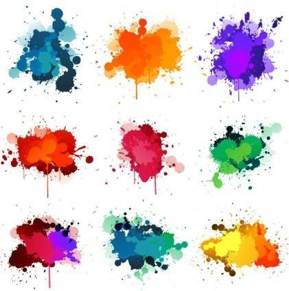 free vector Colorful Ink Splashes Vector