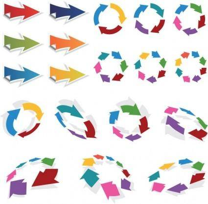 free vector Colorful 3D Vector Arrows Set