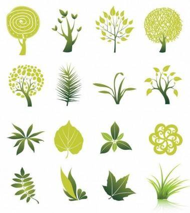 free vector Tree and Leaf Vector Set