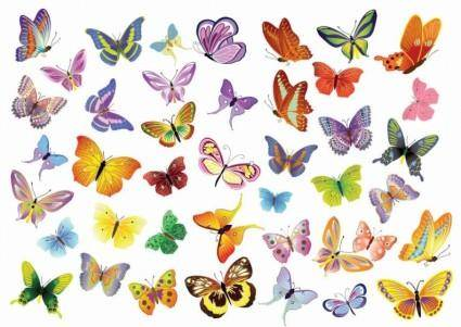 free vector Free Vector Set of Butterflies Decoration