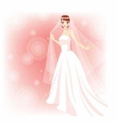 Free Beautiful Bride in The Wedding Vector Illustration