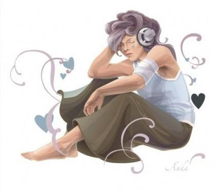 Woman Listening To Music Vector Art