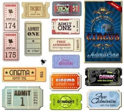 free vector Vintage Movie Ticket Vector Set