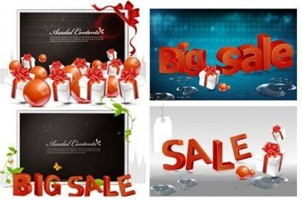 Shopping sales 3D text vector