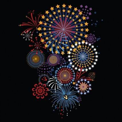 free vector 5 Vector brilliant fireworks