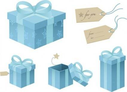 free vector Free Blue Gift Box Vector Material