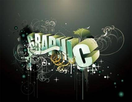 free vector The trend of 3D word vector graphic