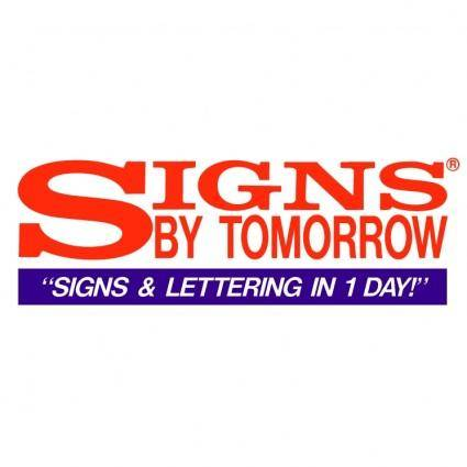 Signs by tomorrow