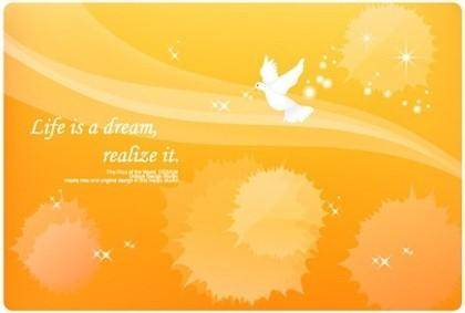 free vector Vector lines and dove dream material