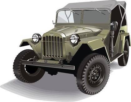 free vector Free Vector Retro Army Jeep GAZ-67b