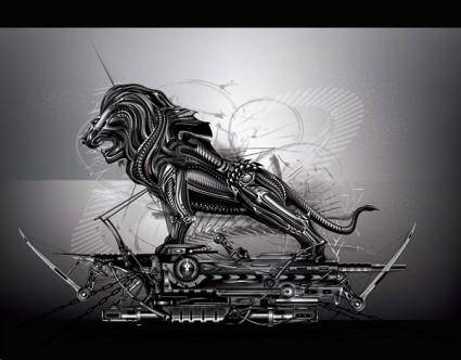 free vector Cool the metal lions vector