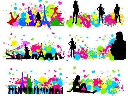 Free City Character with Colorful InkBlot Vector GraphicS