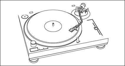 free vector Music jazz plastic disc player line drawing vector