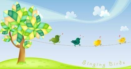 free vector Free Singing Birds Vector