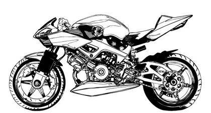 free vector Black and white Motorcycle vector