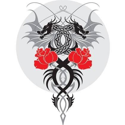 Dragon and the Rose Vector