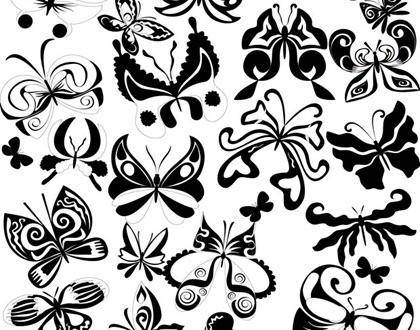Black and White Butterfly Element Vector