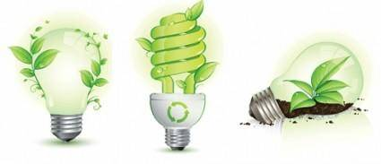 free vector Green Leaf and Energy-Saving Lamps Vector