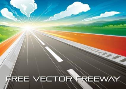 free vector Highway Sunrise Vector