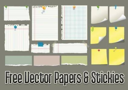 free vector Vector Papers And Stickies