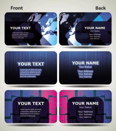 Blue technology business card template 03 vector