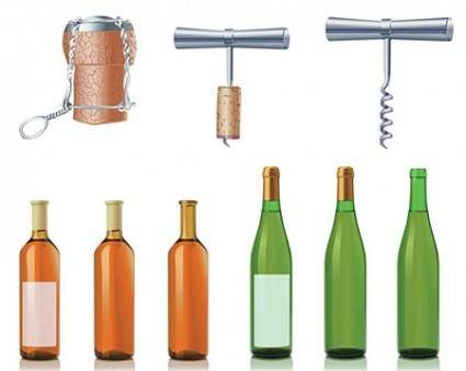 free vector Vector Wine And Champagne Bottles