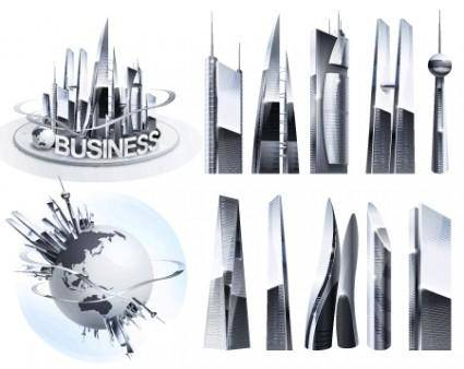 free vector Shiny Vector Business Buildings