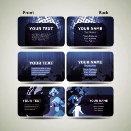 free vector Blue technology business card template 01 vector