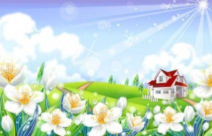 free vector Vector House In Nature