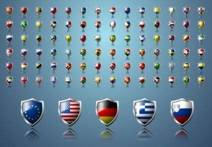 Vector Country Flag Shields