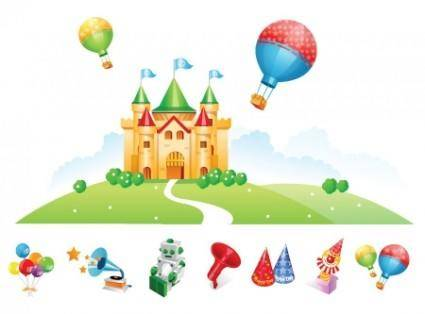 free vector Vector Castle and Toys