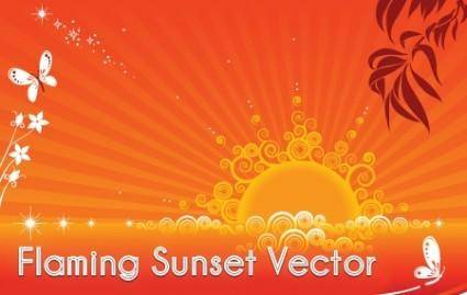 Flaming Sunset Vector