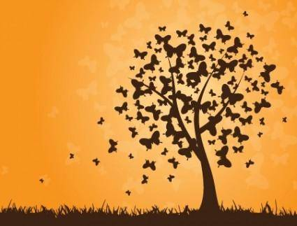 free vector Vector Butterfly Tree
